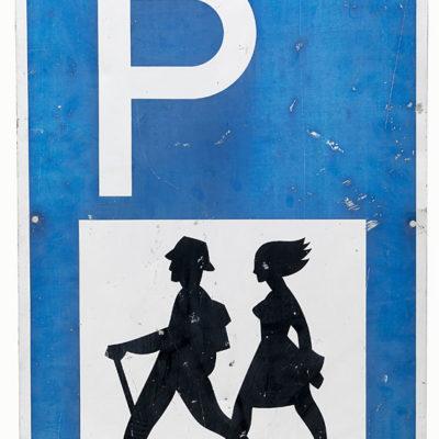 Wanderer-Parkplatzschild
