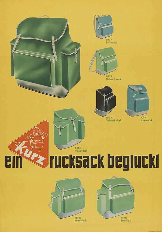 Plakat Wanderrucksäcke, 1955
